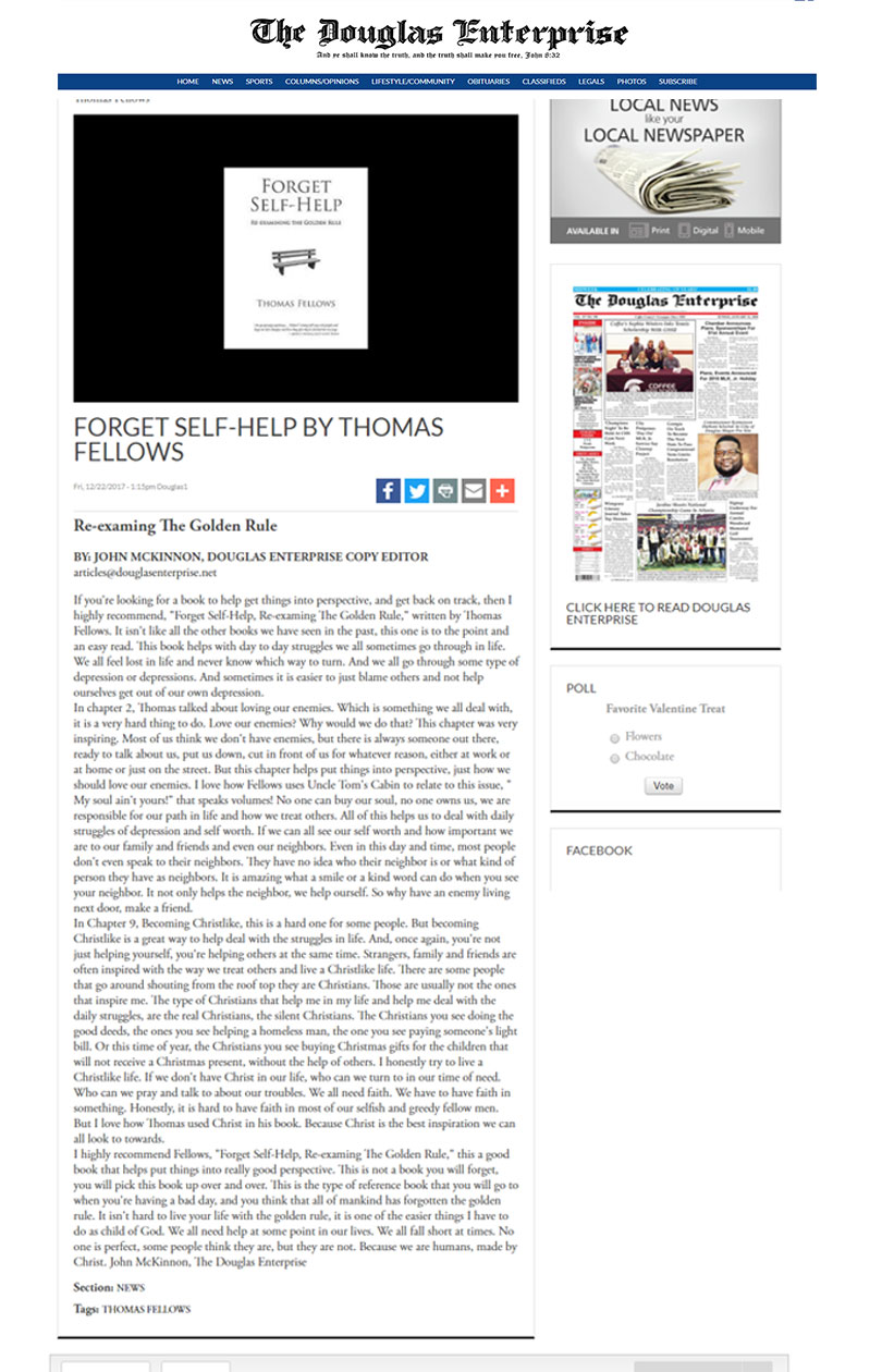Forget Self-HelpRe-Examining the Golden Rule By Thomos fellows News in douglasenterprise
