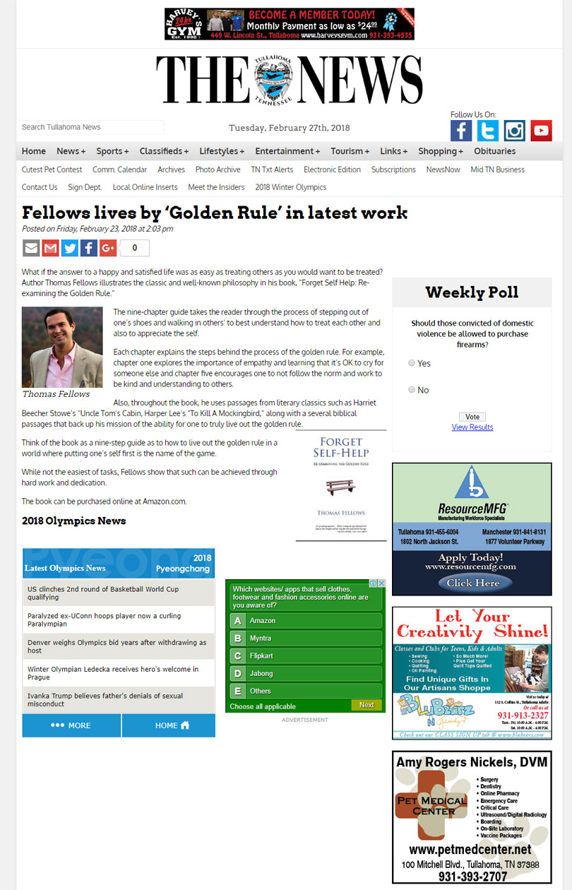 Forget Self-HelpRe-Examining the Golden Rule By Thomos fellows News in tullahomanews